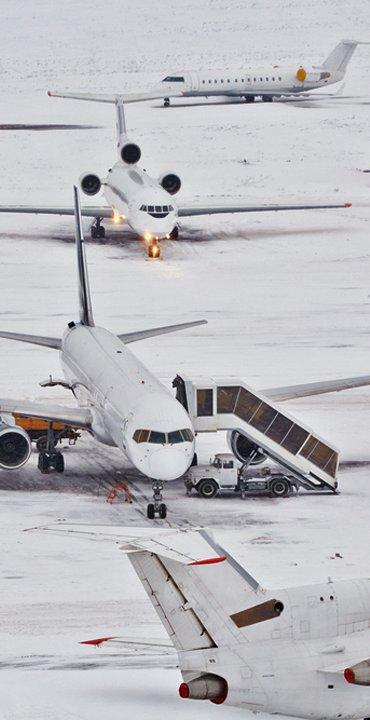 Flugverspätung bei einem Unwetter
